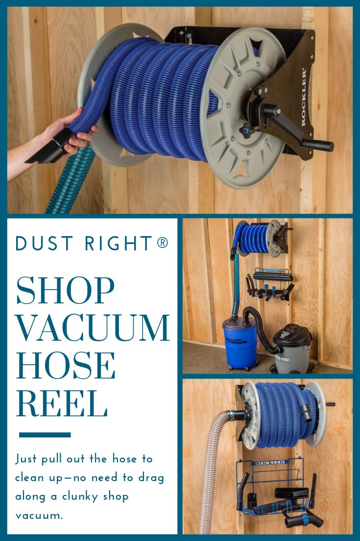 Dust Right®️ Shop Vacuum Hose Reel – Paired with a hose of sufficient length, our Shop Vacuum Hose Reel brings the benefit of a central vacuum cleaner to your shop. Rather than dragging along a clunky shop vacuum that's constantly tipping or getting caught on obstacles, you simply leave the vacuum against the wall and reel out up to 40′ of hose, enough to easily span a 2-car garage.