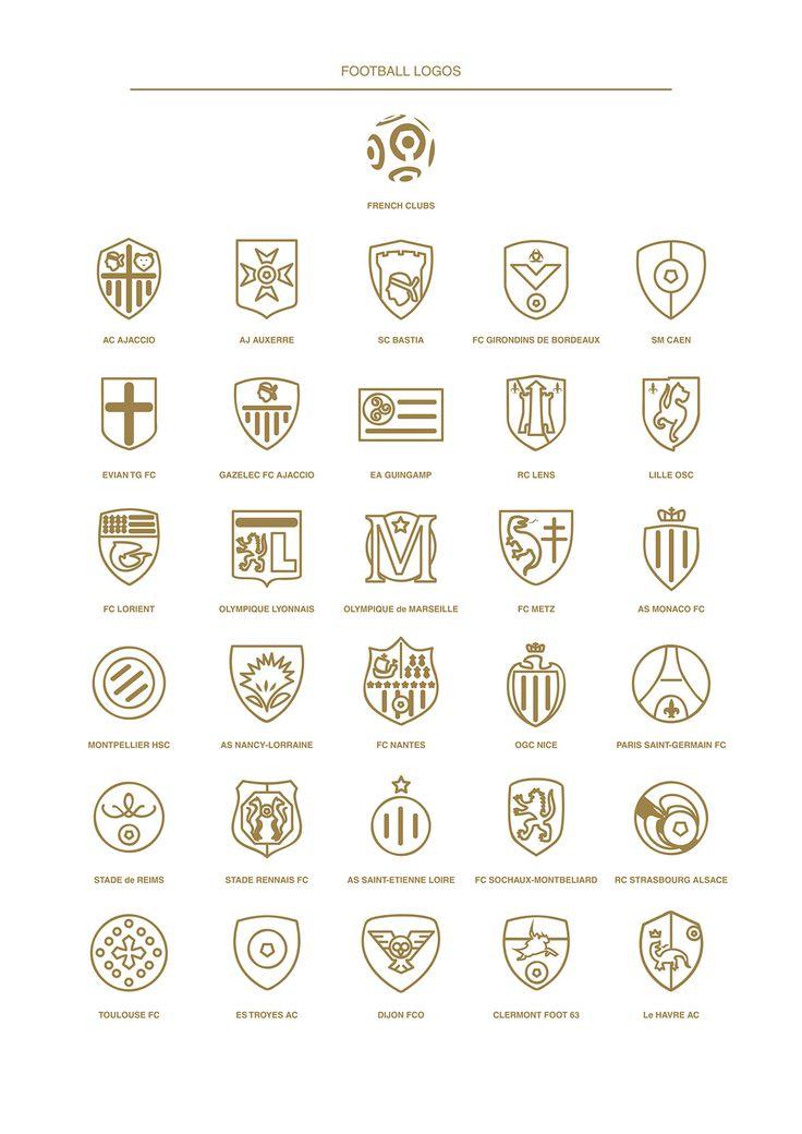 My 2016 football logos collection using minimalistic design