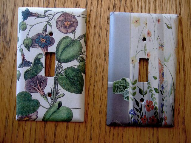Decoupage Light Switches by annekata, via Flickr