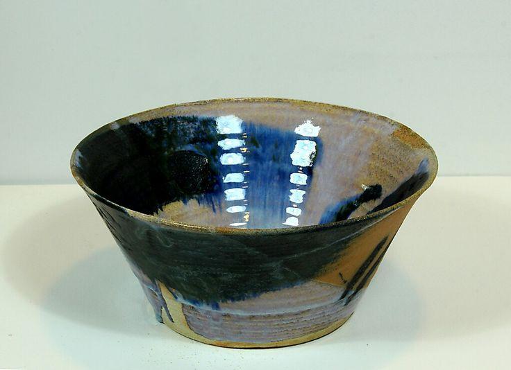 Pirjo Lautiainen, wheel thrown and anagama fired bowl, blue chun glaze