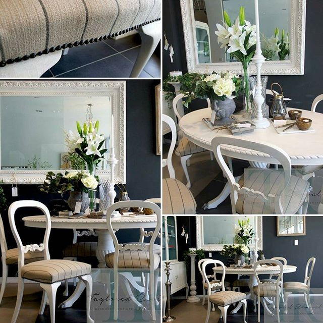 French elegance collection is coming together....completed revived dining suite #frenchelegance #anniesloanstockistnewzealand #anniesloan #french #diningsuite #diningtable #handpainted #chalkpaintbyanniesloan #white #upcycle #balloonback #diningroom  #madeitmyown #tayloredrevival