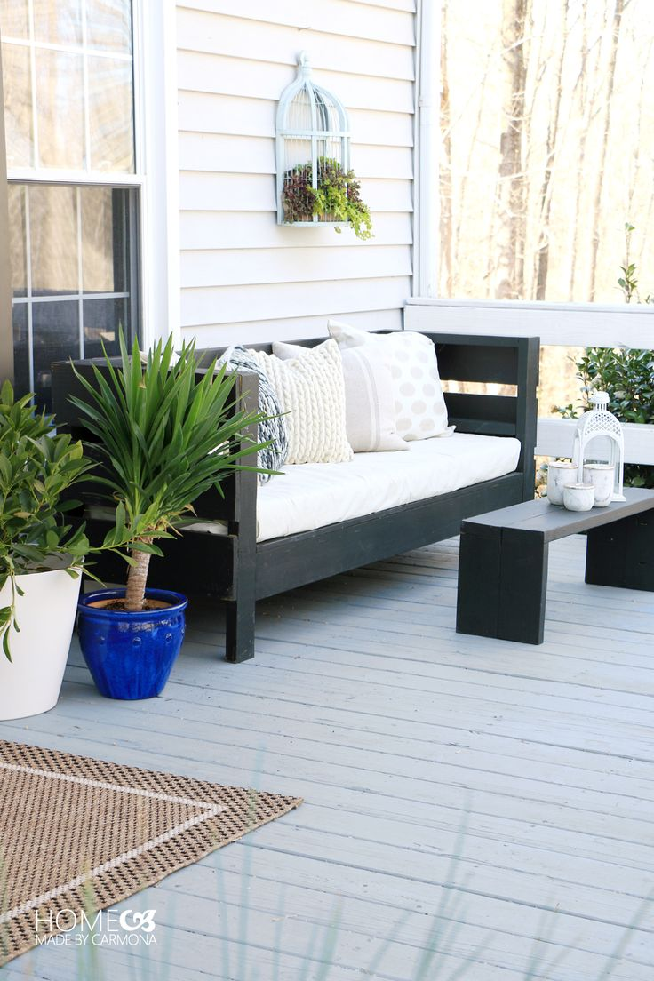 Simple Patio Styling Tricks | Create outdoor living area with simple DIY seating and inexpensive decorative touches!