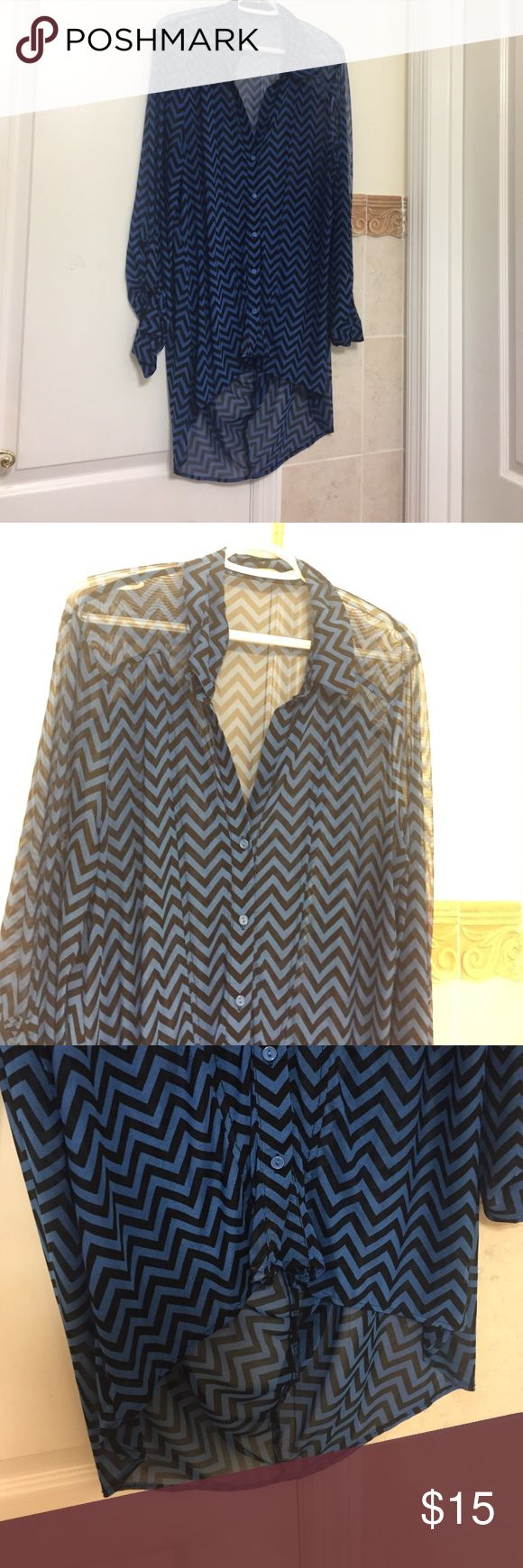 Chevron blouse tunic Long back chevron sheer blouse gently worn a few times, great condition and goes great with black leggings, button down Tops
