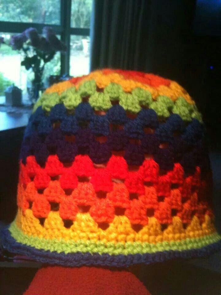 Amy's rainbow  hat.