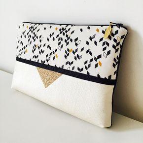 Pochette Rock à paillettes 26 x 16 cms pour soirée, tissu aux motifs géométriques, simili cuir nacré : Sacs à main par marie-besancon