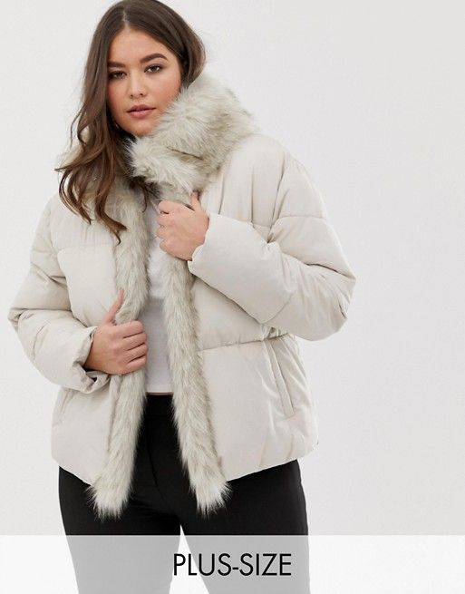 dc057211a6bff Lost Ink Plus Padded Jacket With Faux Fur Trim in 2019