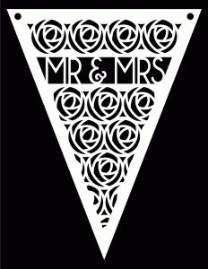 Mr Mrs Pennant bunting - free Studio Svg cut file - great for weddings, anniversaries etc - by bird