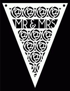 Mr Mrs Pennant bunting - free Studio Svg cut file - great for weddings, anniversaries etc - by bird