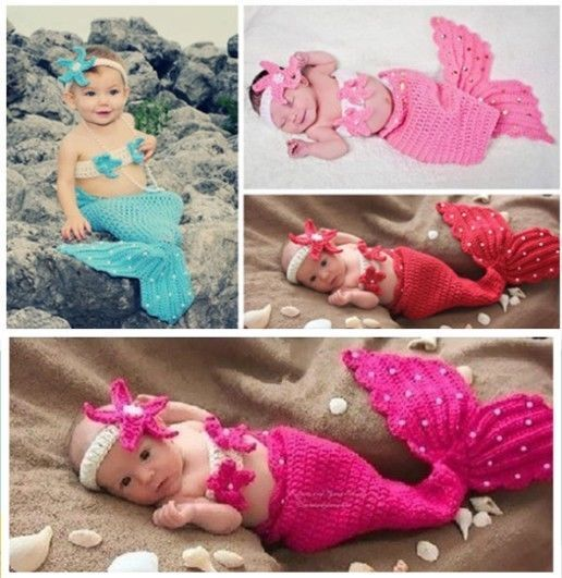 3pcs Infant Girl Baby Crochet Mermaid Headband+Top+Tail Pearl Photo Prop Outfit