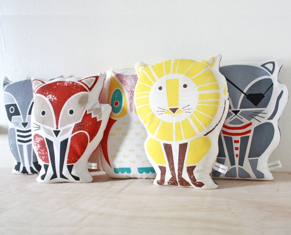 Screenprinted Pillows via Etsy.