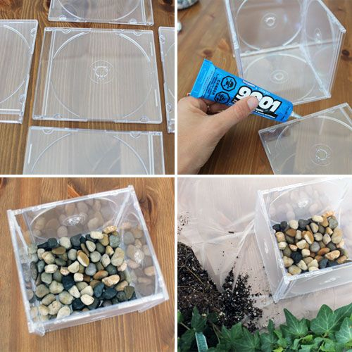 10 Ways to Repurpose CDs  CD Cases via Brit + Co.To create the planter Glue the edges (with a multi-purpose adhesive like E-6000), press together, and let dry overnight. Add extra glue from the inside of the box planter to seal up any holes. Un-pot your plant, repot it, and you're done. We added stones at the bottom for a bit of extra weight.