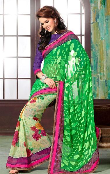 Excellent Green Color Designer Brasso Sari HSPCHAN504 - www.indianwardrobe.com