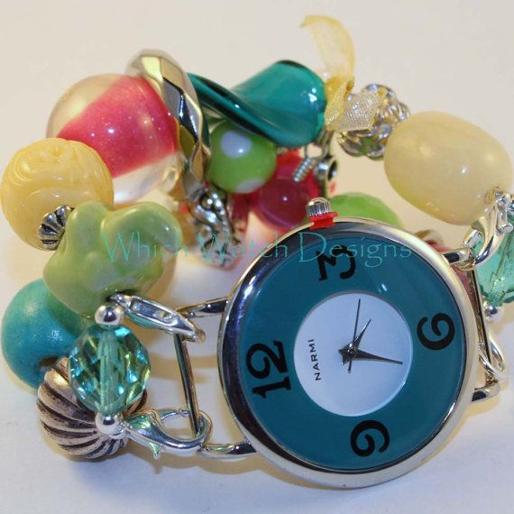 Shabby Chic Carnival.. Bright Turquoise Blue by WhichWatchDesigns, $20.00