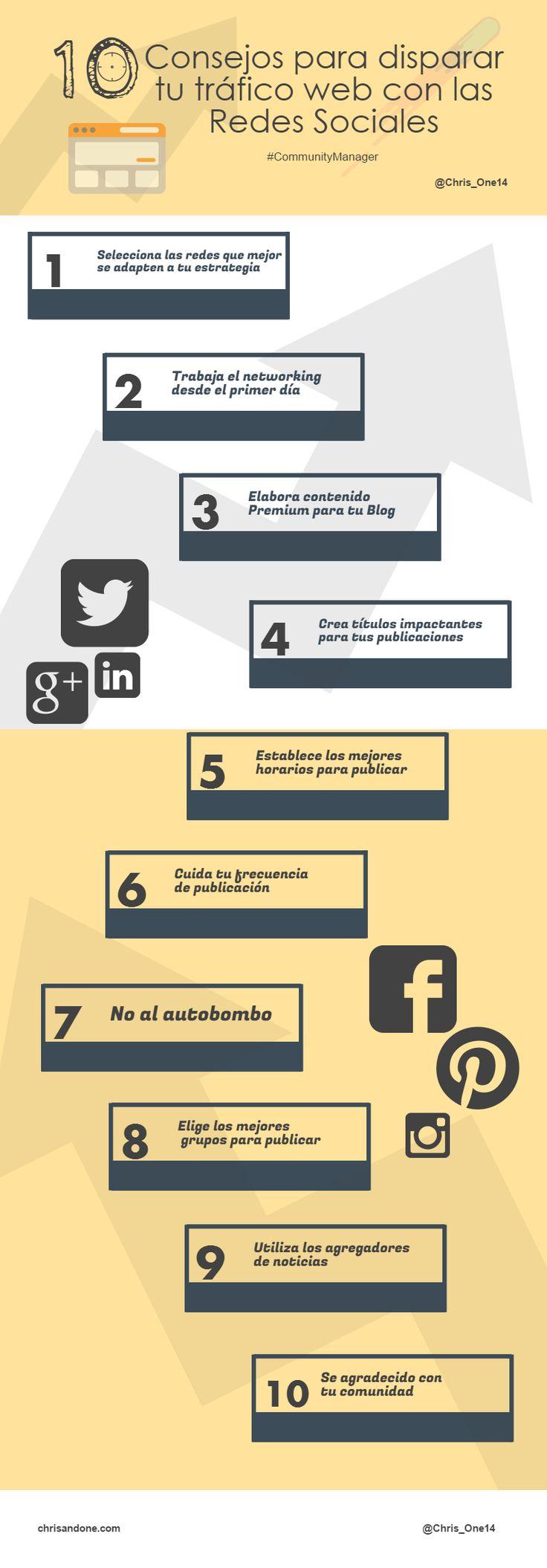 10 Consejos para disparar tu tráfico web con las Redes Sociales #infografia  Ideas Negocios Online para www.masymejor.com