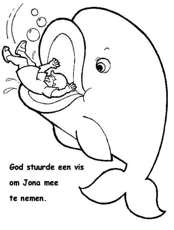 Dibujo para colorear de Jonás cuando es tragado por un pez ...
