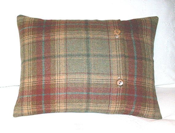 Red Plaid Throw Pillow Cover : Pure Wool Tartan / Tweed / Plaid Cushion / Throw Pillow Cover - Green, Red Tartan - Both sides ...