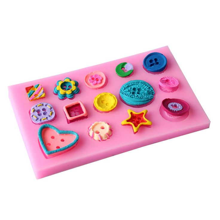 Buttons Multi Shape Silicone Mould  Baking Chocolate Fondant Icing Cake Topper
