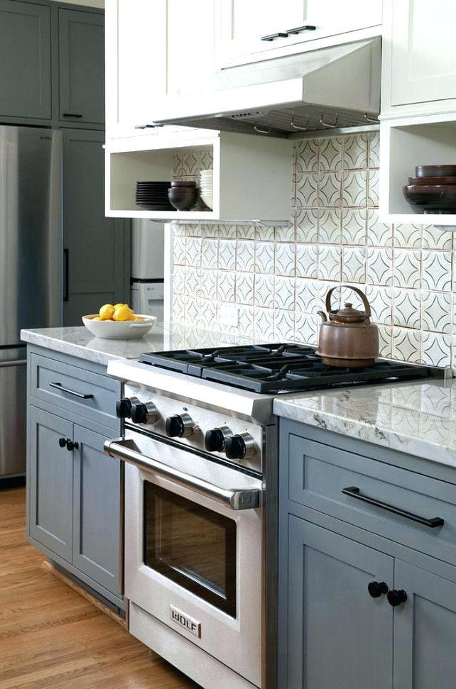 Blue Gray Kitchen Cabinets Grey Dark Floors Butcher Block Island