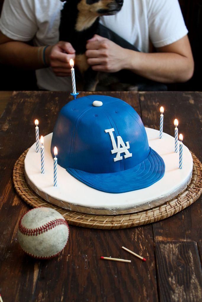 LA Dodgers Baseball Cap Birthday Cake