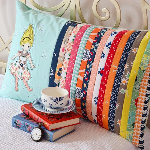 ">good idea for strips/pieces & they wouldn't have to be bias. >Photo only/no instructions >Wouldn't be too comfy to sleep on but it does say it's a sham = probably sew as an envelope pillow =""Down The Rabbit Hole pillow sham by @downgrapevinelane"