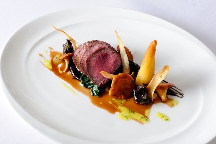 Roasted loin of New Forest venison with snails, roasted chervil root and a field mushroom purée