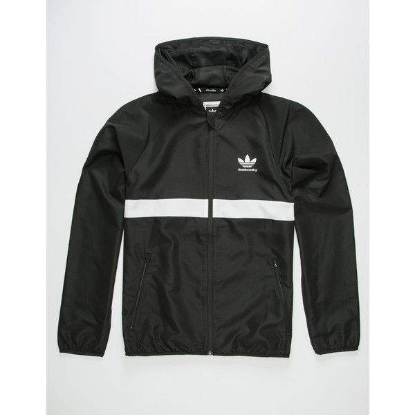 Adidas Skate Windbreaker Jacket ($70) ❤ liked on Polyvore featuring men's fashion, men's clothing, men's activewear, men's activewear jackets and adidas