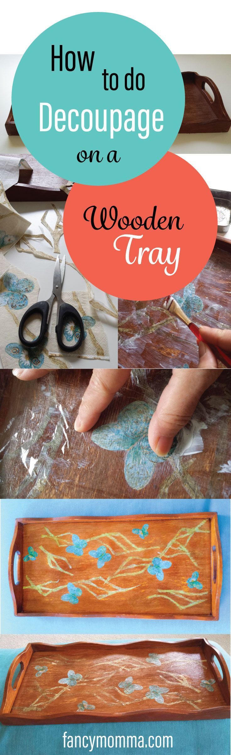 Here is what you can do to a dull and old wooden tray- decoupage. There is a way to pretty up that tray and it is a very easy DIY.