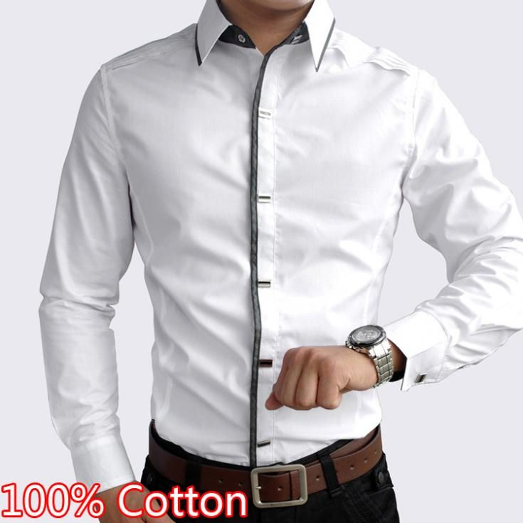 100 de algod n blanco y negro vestido de los hombres 2014 for Tom s ware mens premium casual inner contrast dress shirt