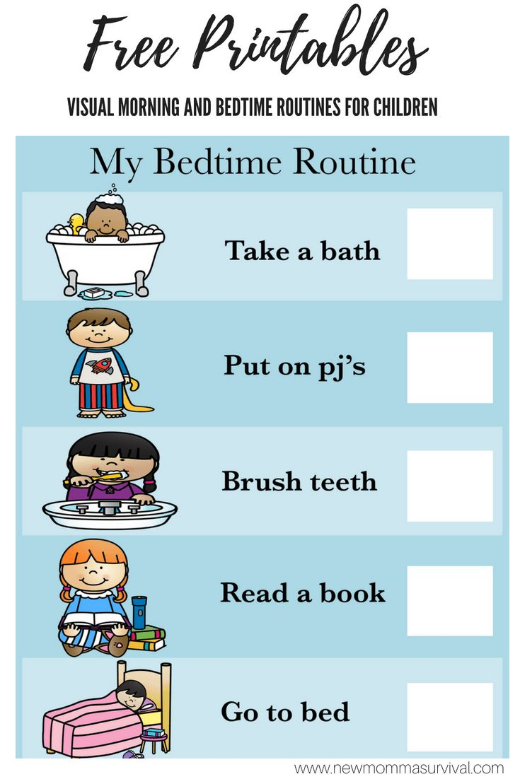 Visual Schedule for Children- Morning and Bedtime Routines ...