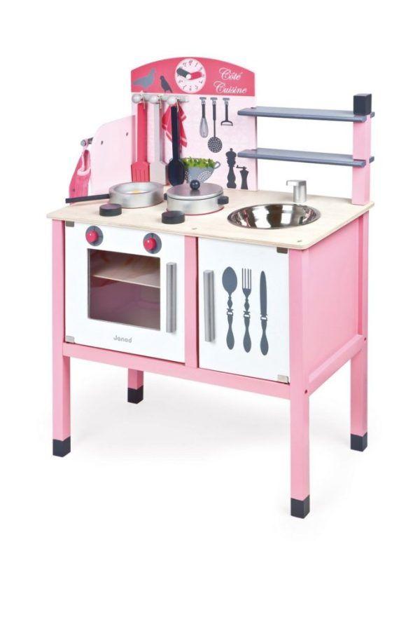Cocinita de madera rosa Janod: 75,91 € Cocinita rosa, cocina de madera de juguete barata.  Cocinitas para niñas y niños