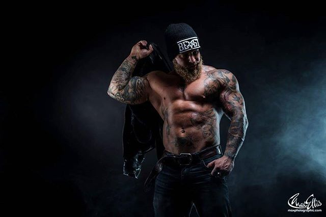 "@ loco.mike.mason from his shoot with @maxphysiquephoto wearing our ""BEAST"" Beanie - currently on sale for £10 at www.crmc-clothing.co.uk 