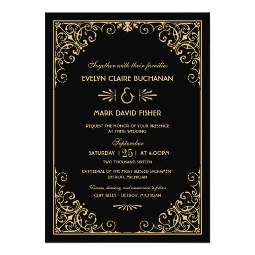 Elegant and glamorous wedding invitations inspired by vintage art deco style and the roaring twenties.  Invitation design features a black and gold color scheme, ornate decorative frame, custom text, and a graphic pattern on the back side.