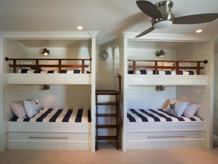 With four bunk beds and two trundle beds that can sleep up to six, what kid wouldn't want to have a sleepover here? The kid-friendly space is next to a stylish and convenient Jack-and-Jill bathroom.