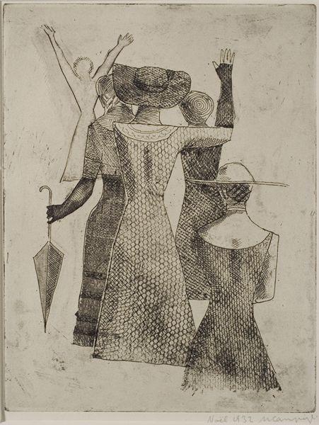 "The Meeting II"", (etching) 1921 - Massimo Campigli"