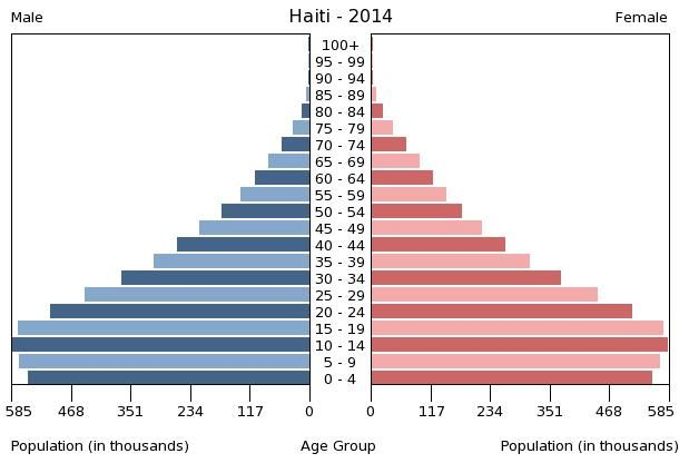 This is Haiti's population pyramid for the year 2014, taken from census.gov. Population pyramids show the distribution of various age groups in a population. Haiti's population pyramid, with a wide base, is typical of underdeveloped nations.