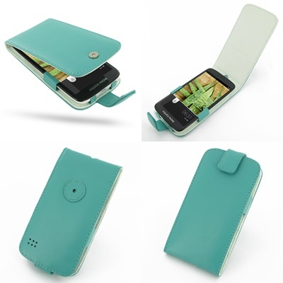PDair Leather Case for Sharp Aquos Phone SH930W - Flip Type (Aqua)