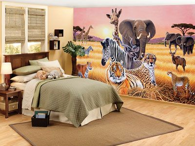 Bedroom Design With African Safari Wall Mural