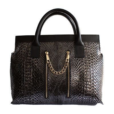 Designer Style Double-Zip Black Snakeskin Leather Handbag - Down to £74.99 from £109.99
