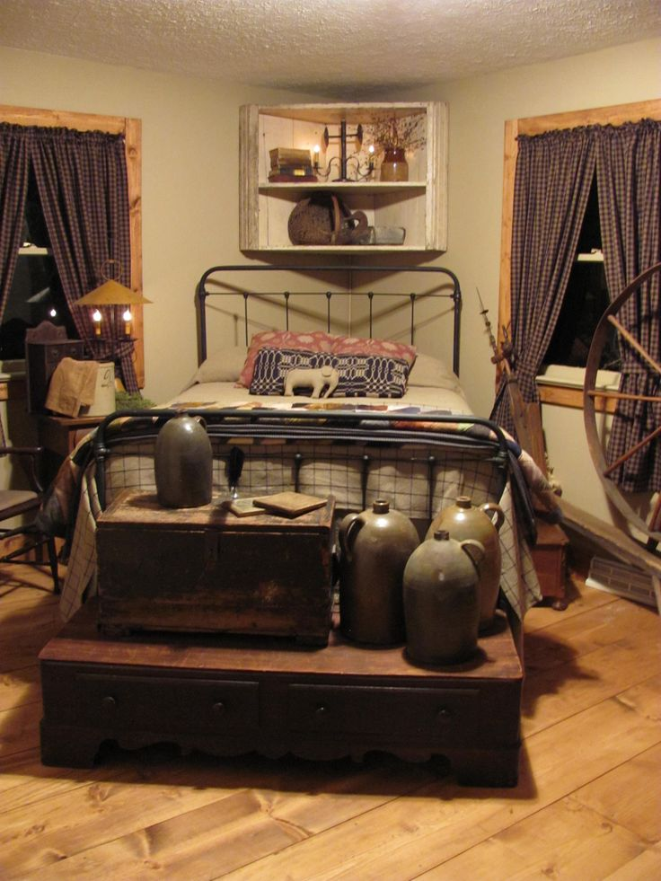 Country Prim Bedroom...old chests & crocks.