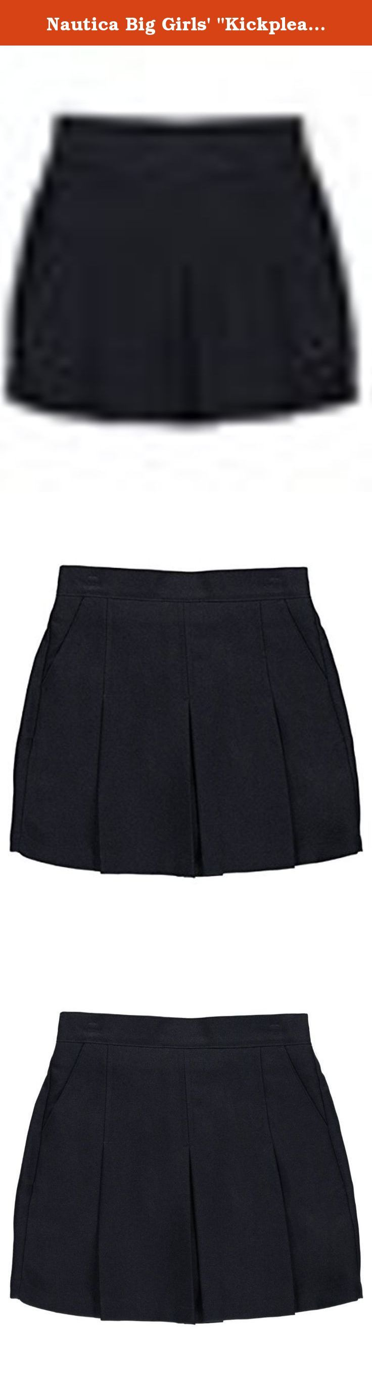 """Nautica Big Girls' """"Kickpleat"""" Scooter Skirt - navy, 14. For a classic look that's classroom appropriate, choose this Nautica jumper. Nautica scooter skirt Poly construction Angled pockets Elastic waistband Scooter shorts 100% polyester Machine wash warm Imported."""
