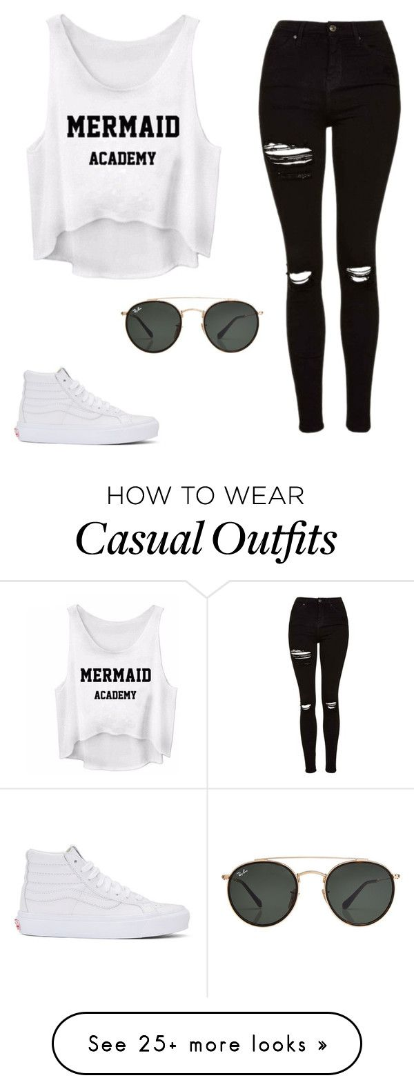 """""""White Sneakers Casual Style"""" by merialbrin on Polyvore featuring Topshop, Ray-Ban and Vans"""