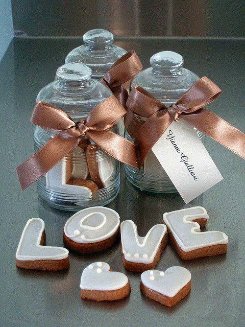 L-O-V-E Cookie Jar Favors - see more inspiration at www.diyweddingsmag.com