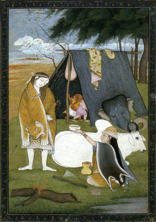 Shiva y su familia  unknownartist, India, Punjab Hills, Kangra School  tinta, acuarela opaca y oro sobre papel  circa 1790-1800