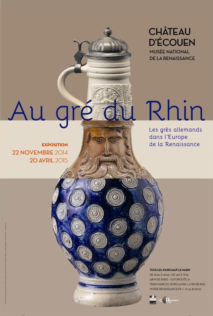 AU GRÉ DU RHIN, 4) les grès allemands dans l'Europe de la Renaissance. Ecouen possède une 60° de grès fabriquées entre le XVI°s et le début du XVIII°s, dans les grands centres de la vallée du Rhin, comme Cologne,  Siegburg ou encore Raeren. Souvent représentés par les peintres du Siècle d'Or hollandais, ces objets de la vie quotidienne sont pourvus d'un important décor. Si les thèmes populaires sont parfois privilégiés, comme sur les cruches décorées de danses de paysans tirées de gravures…