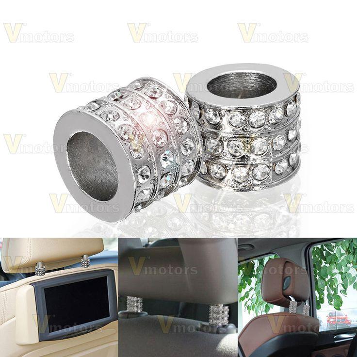 2x Chrome Ice Diamond Bling Auto Car Truck Headrest Collars Interior Decoration