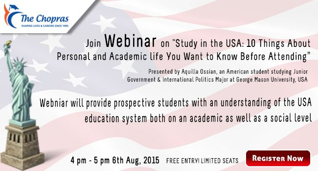 Free #webinar on Study in the USA: 10 Things About Personal and Academic life You Want to Know Before Attending Register to attend :  https://attendee.gotowebinar.com/register/6375713155408293889      Preparing to study in the USA can be overwhelming. Students can very easily get lost in the abundance of questions that present themselves, not knowing where to begin searching.   #studyinusa