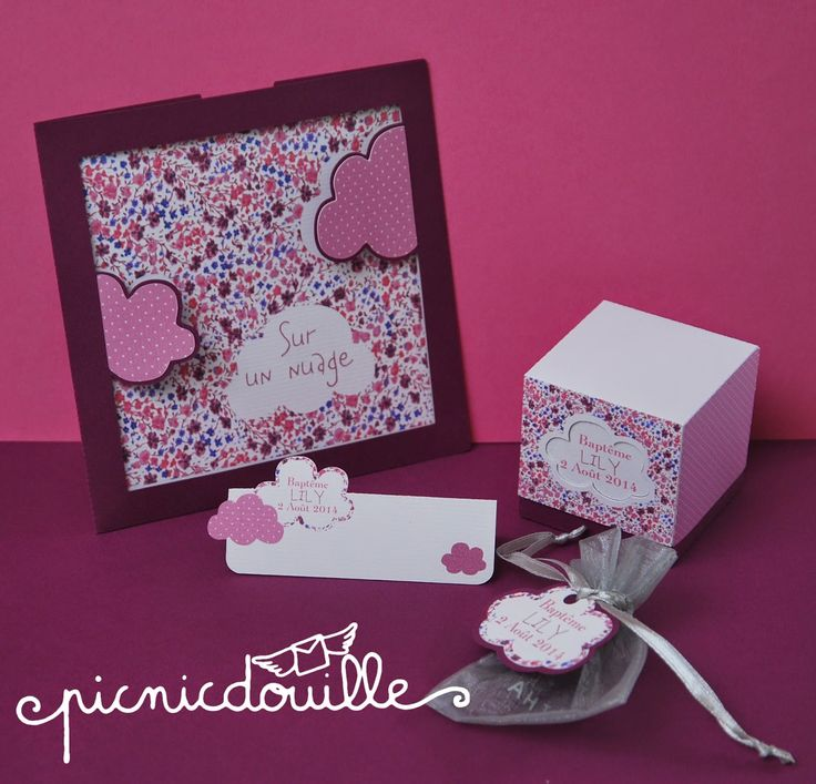 Faire part, carte, invitation, nuage, rose, marque place, boîte dragées, cube
