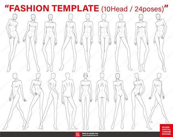 Fashion Figure Templates 10 Head 24 Poses For Fashion Illustration Fashion Croquis Fashi Fashion Figure Templates Fashion Figures Fashion Design Template