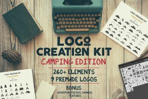 This freebie is a camping themed logo creation kit. This free set of 35+ Elements includes Mountain Shapes, Ribbons, Badge Forms, Sunbursts, Trees, 3 Premade Logo Templates with Editable texts and 6 Vector grunge textures.  You can buy the full set of Logo Creation Kit Bundle on Creative Market. SCREENSHOTS