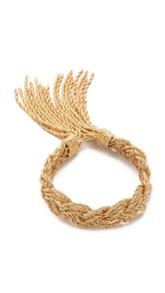 Aurelie Bidermann Miki Dora Rope Bracelet Style # ABIDE30023 Glowing twists of chain form this elegant, braided Aurelie Bidermann bracelet, while delicate fringe conceals the hook-and-eye clasp. Made in France. CA$ 535.62